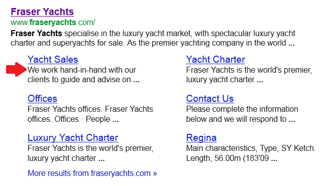 Goolge Sitelinks - Fraser Yachts