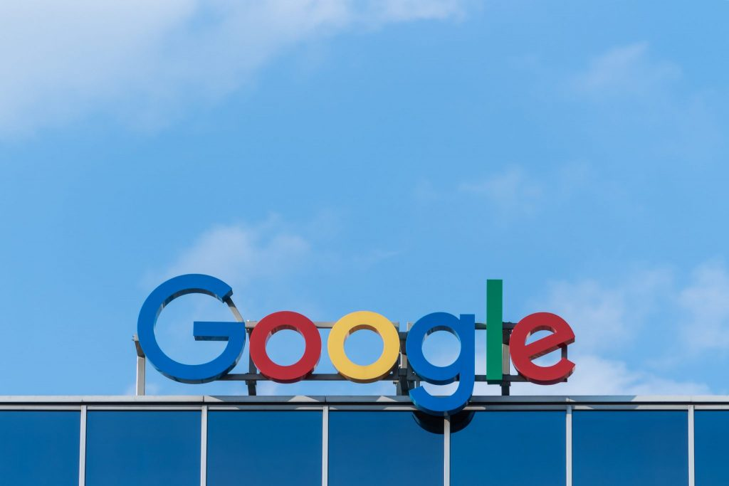 A close up of the Google sign