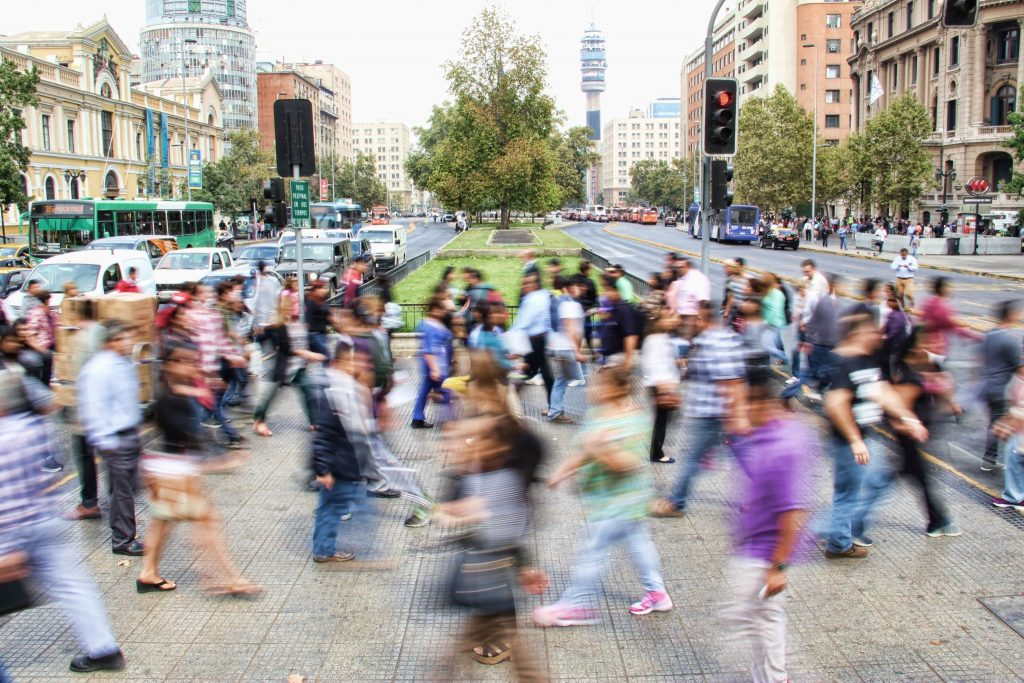 Social reputation - busy blurred crossing in Chile